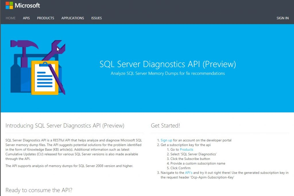 API - SQL Server Diagnostics