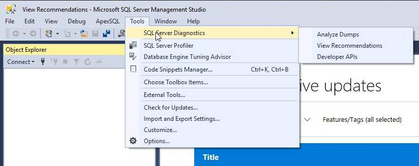Menu - SQL Server Diagnostics